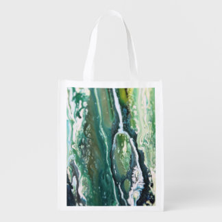 Blue green turquoise vertical abstract paint lines reusable grocery bag