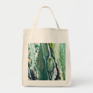 Blue green turquoise vertical abstract paint lines tote bag