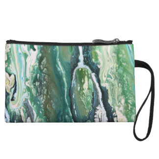 Blue green turquoise vertical abstract paint lines wristlet