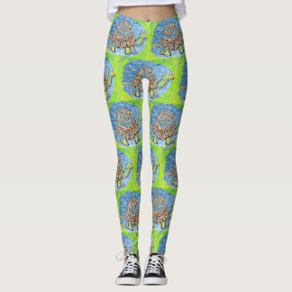 Blue Green Turtle Pattern Leggings