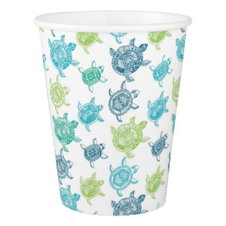 Blue & Green Turtles Pattern Paper Cup, 9 oz Paper Cup