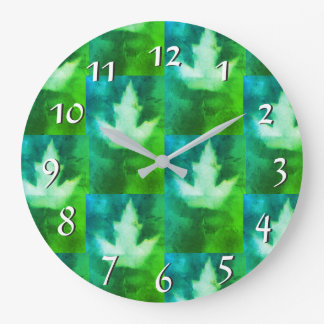 Blue Green Vibrant Colorful Maple Leaf Artisan Large Clock