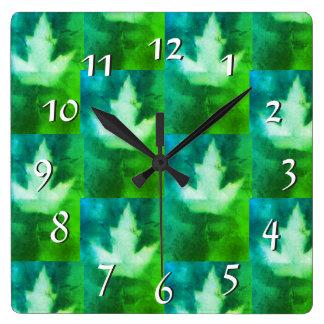 Blue Green Vibrant Dreamy Colours Artistan Leaf Square Wall Clock