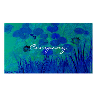 Blue Green Water Lily Business Card Templates