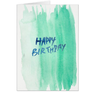Blue/Green Watercolor Birthday Card