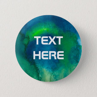 Blue Green Watercolor custom text 2 Inch Round Button