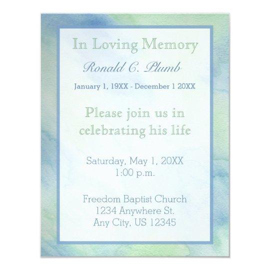 Blue & Green Watercolor Funeral | Memorial Service Card