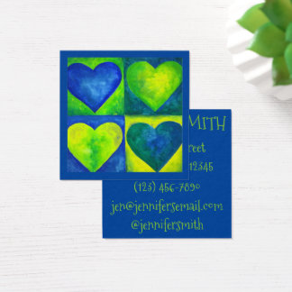 Blue Green Watercolor Painted Heart Art Love Square Business Card