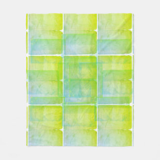 Blue Green Watercolor Silk Screen Print Pattern Fleece Blanket