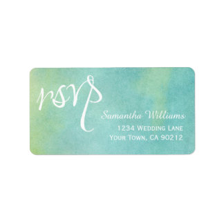 Blue Green Watercolor Wedding RSVP Labels