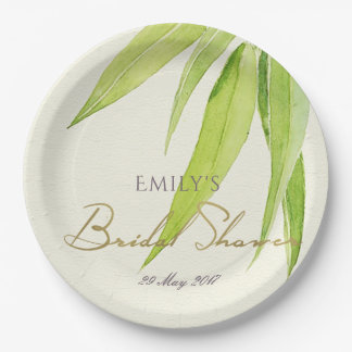 BLUE GREEN WATERCOLOUR FOLIAGE OLIVE BRIDAL SHOWER PAPER PLATE