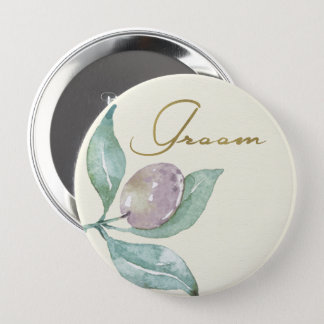 BLUE GREEN WATERCOLOUR FOLIAGE OLIVE GROOM 4 INCH ROUND BUTTON