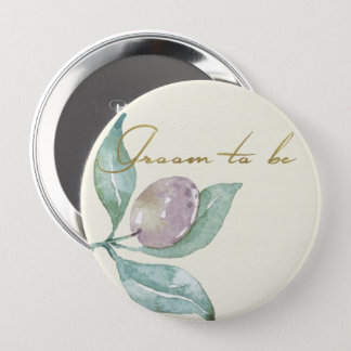 BLUE GREEN WATERCOLOUR FOLIAGE OLIVE GROOM TO BE 4 INCH ROUND BUTTON