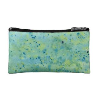 Blue & Green Watercolour Splat Cosmetic Bag