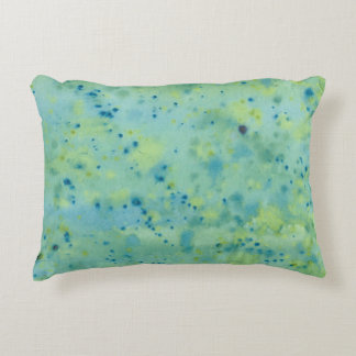 Blue & Green Watercolour Splat Decorative Pillow