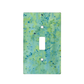 Blue & Green Watercolour Splat Light Switch Cover