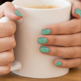 Blue & Green Watercolour Splat Minx Nail Art