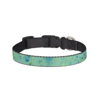 Blue & Green Watercolour Splat Pet Collar
