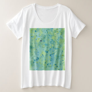 Blue & Green Watercolour Splat Plus Size T-Shirt