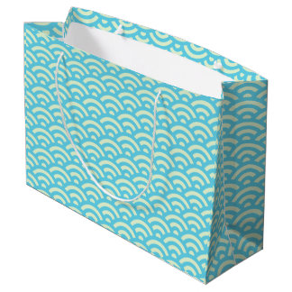 Blue Green Wave Pattern Gift Bag