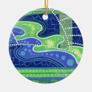 Blue & green waves abstract art painting ornament