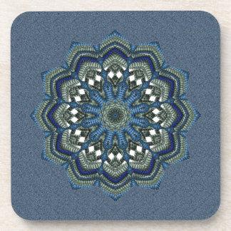 Blue Green Weaved Star Flower Drink Coaster