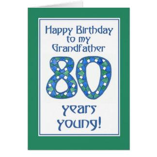 Blue, Green, White 80th Birthday Grandfather Card