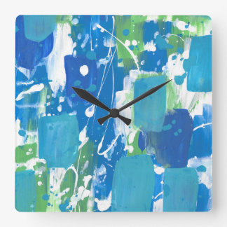Blue Green White Abstract Square Wall Clock