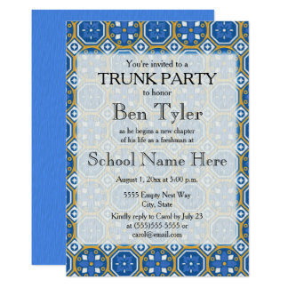 Blue Green White Ethnic Mosaic Trunk Party Card