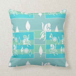 Blue, Green White Floral Decor Throw Pillow