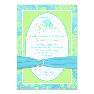 Blue Green White Floral Sip and See Invitation