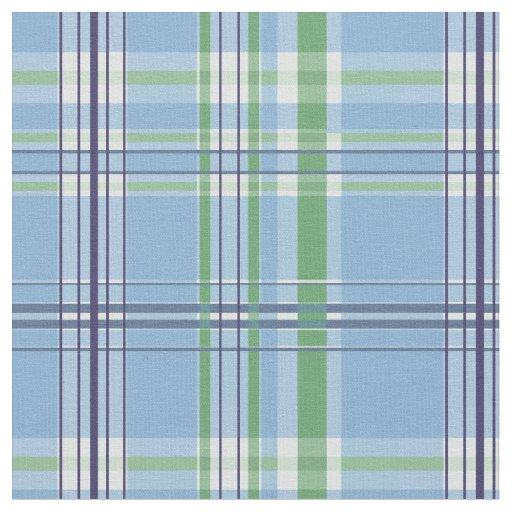 Blue Green White Plaid Pattern Fabric | Zazzle