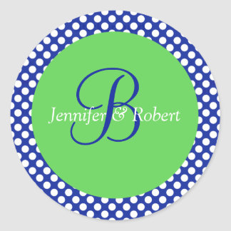 Blue Green White Polka Dot Monogram B Envelope Sea Round Sticker