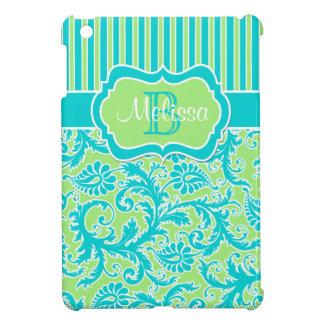 Blue, Green, White Striped Damask iPad Mini Case