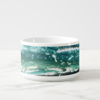 Blue green white turquoise abstract paint lines bowl