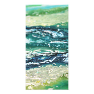 Blue green white turquoise abstract paint lines card