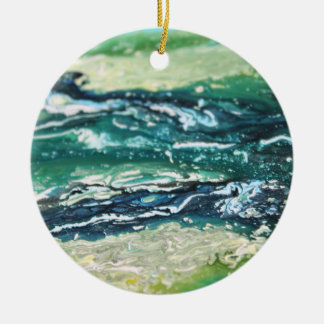 Blue green white turquoise abstract paint lines ceramic ornament
