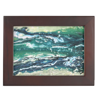 Blue green white turquoise abstract paint lines keepsake box