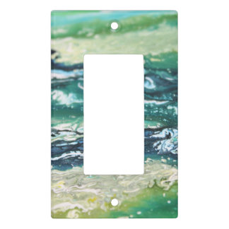 Blue green white turquoise abstract paint lines light switch cover