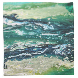 Blue green white turquoise abstract paint lines napkin