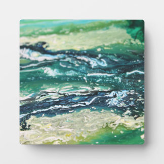 Blue green white turquoise abstract paint lines plaque