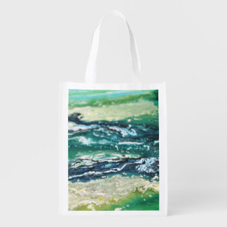 Blue green white turquoise abstract paint lines reusable grocery bag