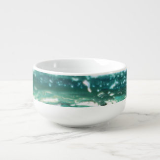 Blue green white turquoise abstract paint lines soup mug