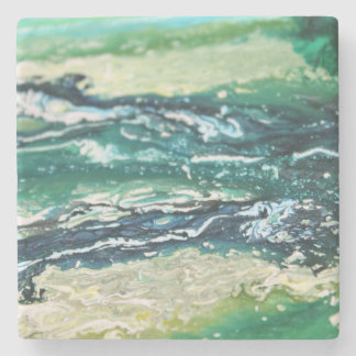 Blue green white turquoise abstract paint lines stone coaster