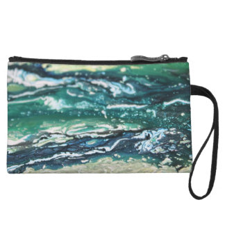 Blue green white turquoise abstract paint lines wristlet