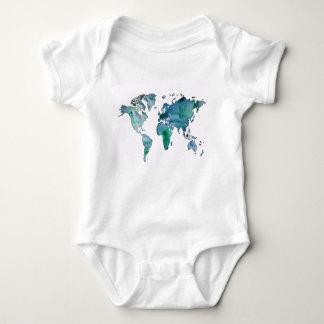 Blue Green World Map Baby Bodysuit