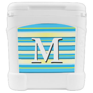 Blue Green Yellow Stripe Monogram Beach Cooler