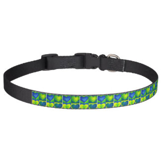 Blue Green Yellow Watercolor Painted Hearts Love Pet Collar