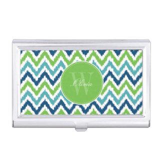 Blue Green Zigzag Ikat Pattern Monogrammed Business Card Holder