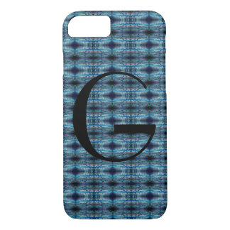Blue-Grey Abstract Monogram Case-Mate iPhone Case